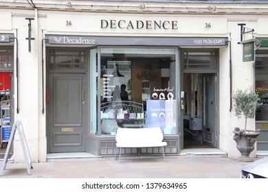 London, England, April 24th 2019: Decadence shop in Store Street, Bloomsbury in London