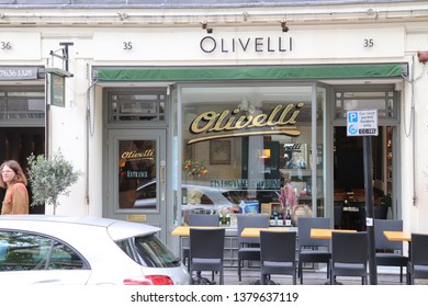 London, England, April 24th 2019: Olivelli Restaurant in Store Street, Bloomsbury in London
