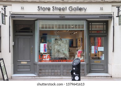 London, England, April 24th 2019: Store St. Gallery in Store Street, Bloomsbury in London