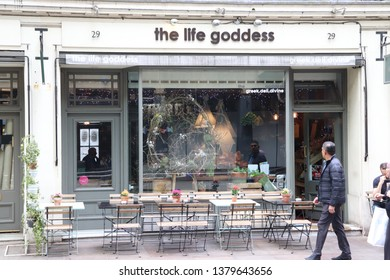 London, England, April 24th 2019: The Life Goddess cafe in Store Street, Bloomsbury in London