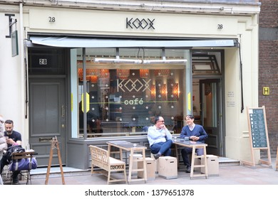 London, England, April 24th 2019: Koox Cafe in Store Street, Bloomsbury in London