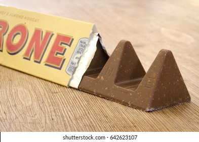 London, England - April 25, 2017: Toblerone Chocolate Bar, Toblerone originated in Switzerland around 1908 and created by Theodor Tobler.