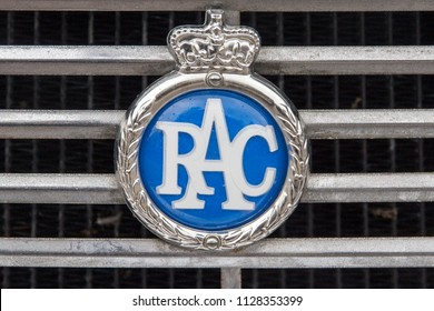 LONDON, ENGLAND - April 28, 2018. RAC badge at the annual Classic Car Exhibition and Vintage Clothing Market at Kings Cross, London, England, April 28, 2018.