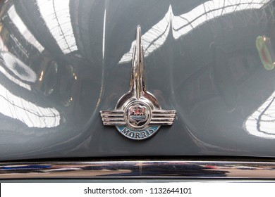 LONDON, ENGLAND - April 28, 2018. 1959 Morris Oxford Series at the Annual Classic Car Exhibition and Vintage Clothing Market at Kings Cross, London, England, April 28, 2018.