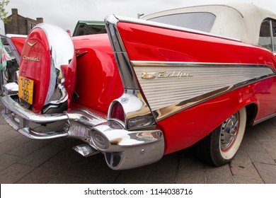 LONDON, ENGLAND - April 28, 2018. 1957 Ford Chevrolet Bel Air GMC at the annual Classic Car Exhibition and Vintage Clothing Market at Kings Cross, London, England, April 28, 2018.