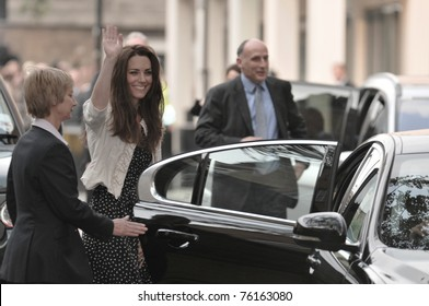 LONDON, ENGLAND - APRIL 28: Kate Middleton waves to onlookers as she arrives at the Goring Hotel on the evening before her wedding to Prince William on April 28, 2011 in London England.