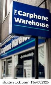 London, England - April 29, 2006: The Carphone Warehouse shop sign, The Carphone Warehouse Ltd was founded in 1989