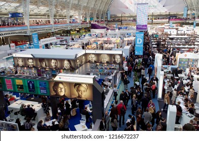 London / England - April 30, 2015: People attend a book fair in London on April 30, 2015.