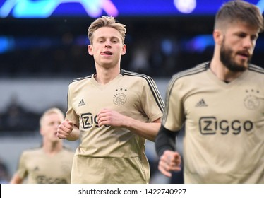 LONDON, ENGLAND - APRIL 30, 2019: Frenkie de Jong of Ajax pictured prior to he first leg of the 2018/19 UEFA Champions League Semi-finals game between Tottenham Hotspur and AFC Ajax.