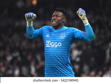 LONDON, ENGLAND - APRIL 30, 2019: Andre Onana of Ajax celebrates after the first leg of the 2018/19 UEFA Champions League Semi-finals game between Tottenham Hotspur and AFC Ajax.