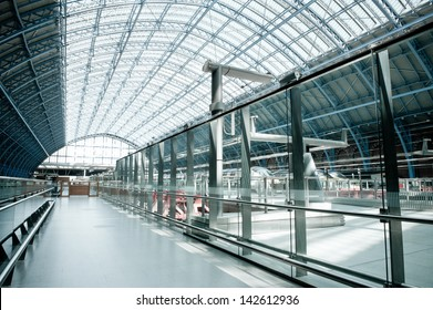 LONDON, ENGLAND - APRIL 30: Eurostar terminal at Kings Cross St. Pancras station, recently reconstructed to accept bullet trains from the Continent, London, UK, April 30, 2013