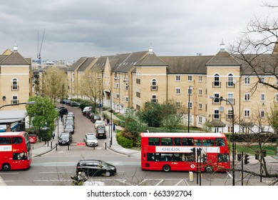 London, England - April 4, 2017: London streets with Red Bus in the Peckham district, London, UK.