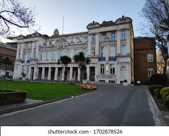 London / England - April 5th 2020: Queens Building, Grade II listed, Queen Mary University, Russell Group university, Mile End Campus, East London. Designed by Victorian architect ER Robson, hall hire