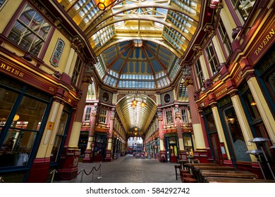 London, England - April 6, 2016: Leadenhall market in London. It is one of the oldest markets in London, dating back to the 14th century.