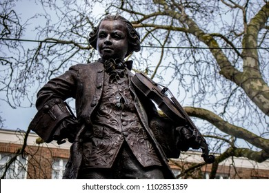 London, England - April 6 2018: A statue, in London, of composer Wolfgang Amadeus Mozart as a young boy.