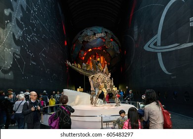 London, England - April 9, 2016: Dinosaur exhibition in London's Natural History Museum