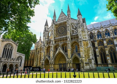 London, England - Aug 08, 2019 : Westminster Abbey stands on a site that's been associated with Christianity since the early 7th century.