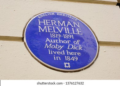 London, England - Aug 2014: House sign indicating that Herman Melville lived here in 1849.  Author of Moby Dick.