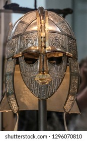 LONDON, ENGLAND - AUGUST 02, 2015: Ceremonial helmet from Sutton Hoo, mound Necropolis East of Woodbridge in the British Museum in London, England