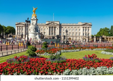 LondonEnglandAugust 05, 2018Beautiful floral display outside Buckingham Palace, the London residence of Her Majesty Queen Elizabeth 2nd
