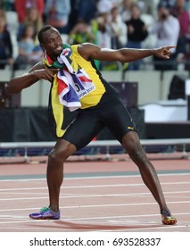 LONDON, ENGLAND - AUGUST 05: Usain Bolt of Jamaica during day two of the 17th IAAF World Athletics Championships London 2017 at The London Stadium on August 5, 2017 in London, United Kingdom.