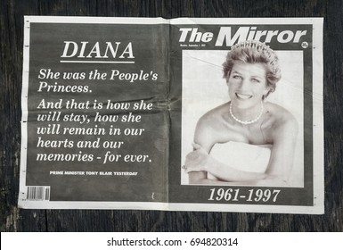 London, England - August 12, 2017: British Newspaper The Mirror reporting the Death of Princess Diana from September 1997.