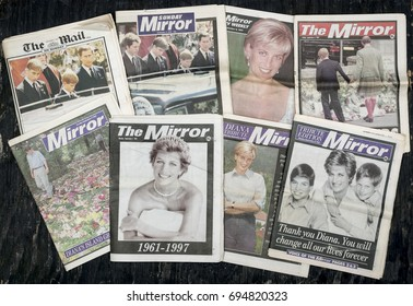 London, England - August 12, 2017: British Newspaper front covers reporting the Death of Princess Diana from September 1997.