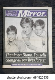 London, England - August 12, 2017: British Newspaper The Mirror reporting the Funeral of Princess Diana from September 1997.