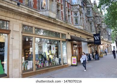London, England, August 13th 2019: Waterstones bookshop in Bloomsbury, London