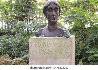 London, England, August 13th 2019: Virginia Woolf bust in Tavistock Gardens, Bloomsbury, London