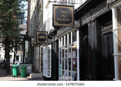 London, England, August 13th 2019: Woburn Walk shops in Bloomsbury, London