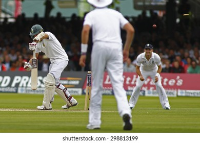 LONDON, ENGLAND. AUGUST 16 2012 South Africa's Hashim Amla is bowled out by England's Steven Finn not in picture during the third Investec cricket  test match between England and South Africa,