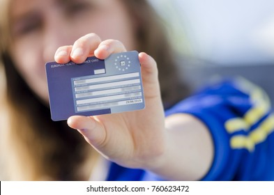 London, England - August 16, 2015: The European Health Insurance Card or  EHIC, Allows the card holder to get free or reduced cost medical care throughout Europe.