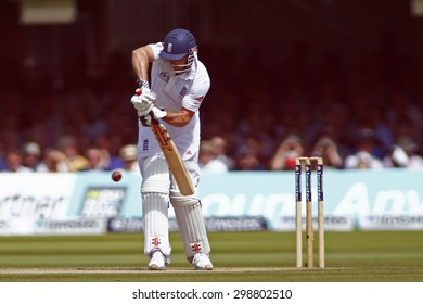 LONDON, ENGLAND. AUGUST 17 2012 England's Andrew Strauss batting during the third Investec cricket  test match between England and South Africa, at Lords Cricket Ground