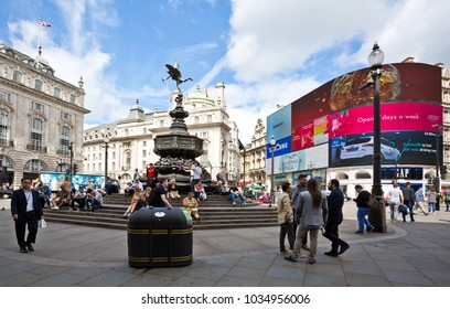 London, England - August 17, 2017: View of the busy area of Picadilly circus in London.
