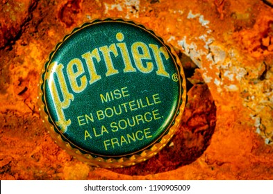 London, England - August 18, 2018: Perrier Bottle Top, Perrier is a French brand of natural mineral water from it's source in Vergeze.