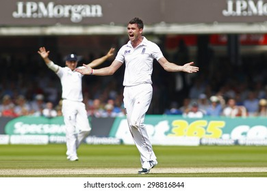 LONDON, ENGLAND. AUGUST 19 2012 England's James Anderson appeals for a wicket during the third Investec cricket  test match between England and South Africa, at Lords Cricket Ground