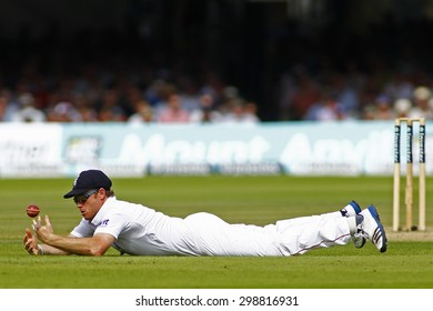 LONDON, ENGLAND. AUGUST 19 2012 England's Ian Bell fields during the third Investec cricket  test match between England and South Africa, at Lords Cricket Ground