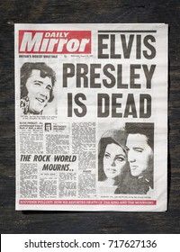 London, England - August 19, 2017: British Newspaper front page reporting the death of Elvis Presley on 17th August 1977