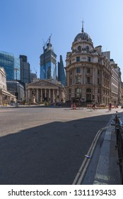 London, England - August 2018. View of Bank Junction, where Threadneedle Street, Cornhill, Mansion House Street and Lombard Street meet. It is home to the London Stock Exchange Group.
