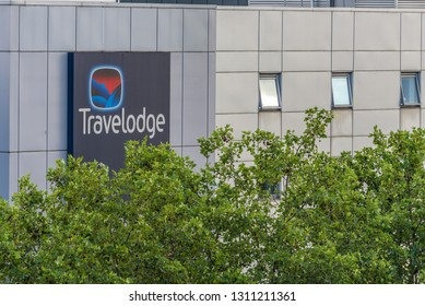 London, England - August 2018. View of Travelodge Hotel building and sign East India Dock Road, Poplar, London.