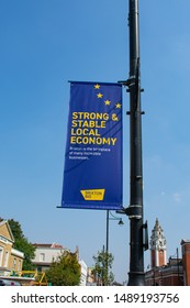 London / England - August 2019. Brexit inspired sign promoting local Brixton Economy in South West London on a clear summer day