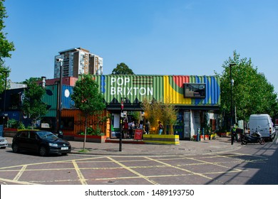 London / England - August 2019. Entrance to the iconic Pop Brixton on a perfect summer day