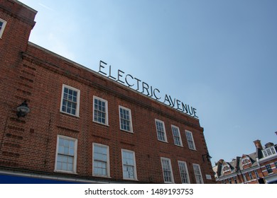 London / England - August 2019. Iconic rooftop sign of Electric Avenue in the South West London suburb of Brixton on a perfect blue sky summer day