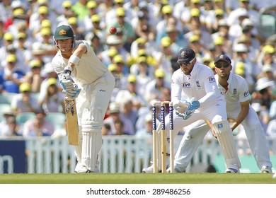 LONDON, ENGLAND - August 21 2013: Michael Clarke plays a shot during day one of the 5th Investec Ashes cricket match between England and Australia played at The Kia Oval Cricket Ground