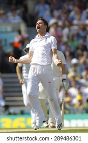 LONDON, ENGLAND - August 21 2013: James Anderson celebrates taking the wicket of Michael Clarke during day one of the 5th Investec Ashes cricket match between England and Australia