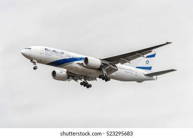 LONDON, ENGLAND - AUGUST 22, 2016: 4X-ECE El Al Israel Airlines Boeing 777 Landing in Heathrow Airport, London.