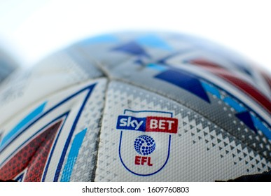 LONDON, ENGLAND - AUGUST 24, 2019: Detail of the official match ball pictured ahead of the 2019/20 EFL SkyBet Championship game between Fulham FC and Nottingham Forest FC at Craven Cottage.