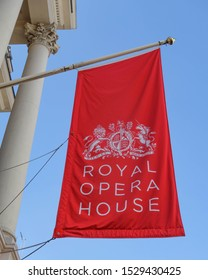 LONDON, ENGLAND - AUGUST 26, 2019: Royal Opera House banner in London, England