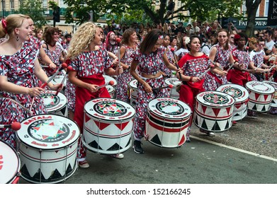 LONDON, ENGLAND - AUGUST 26: Batala London Samba Drumming Band at Notting Hill Carnival on August 26, 2013 in London